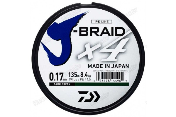 "DAIWA ""J-Braid X4"" 0.13 Dark Green"